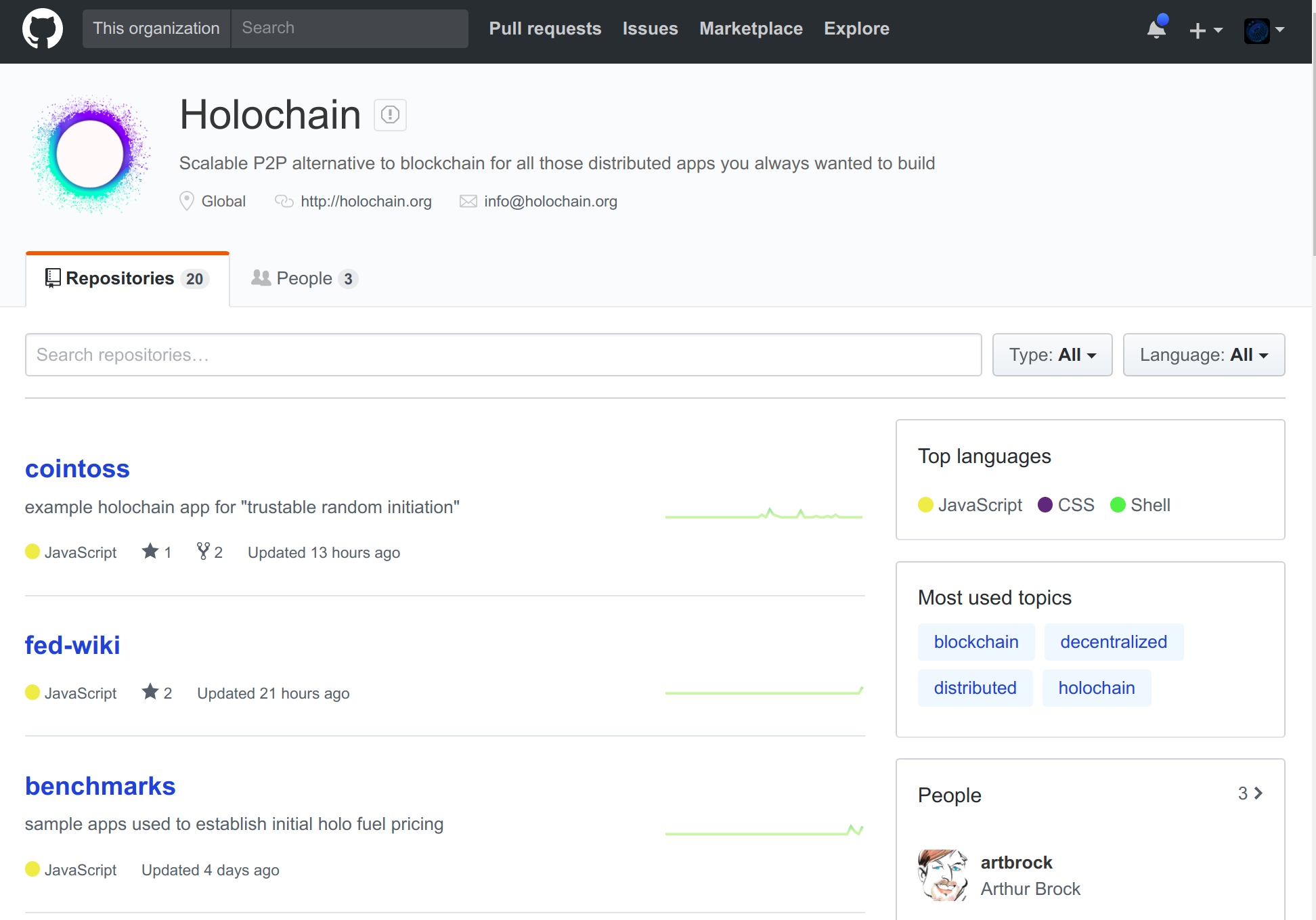 screenshot of Holochain on GitHub