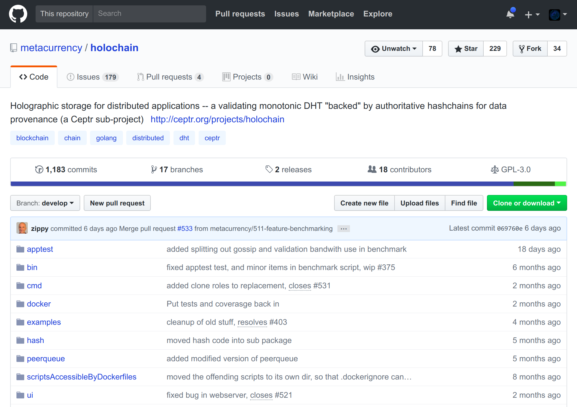 screenshot of Holochain core repo on GitHub