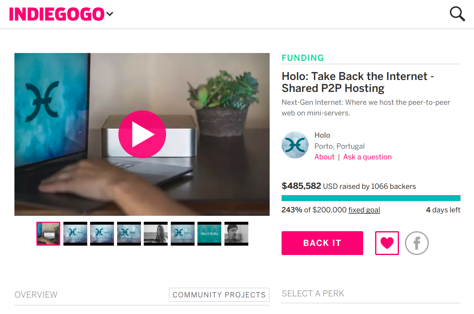 screenshot of the Holo crowdfund page on Indiegogo