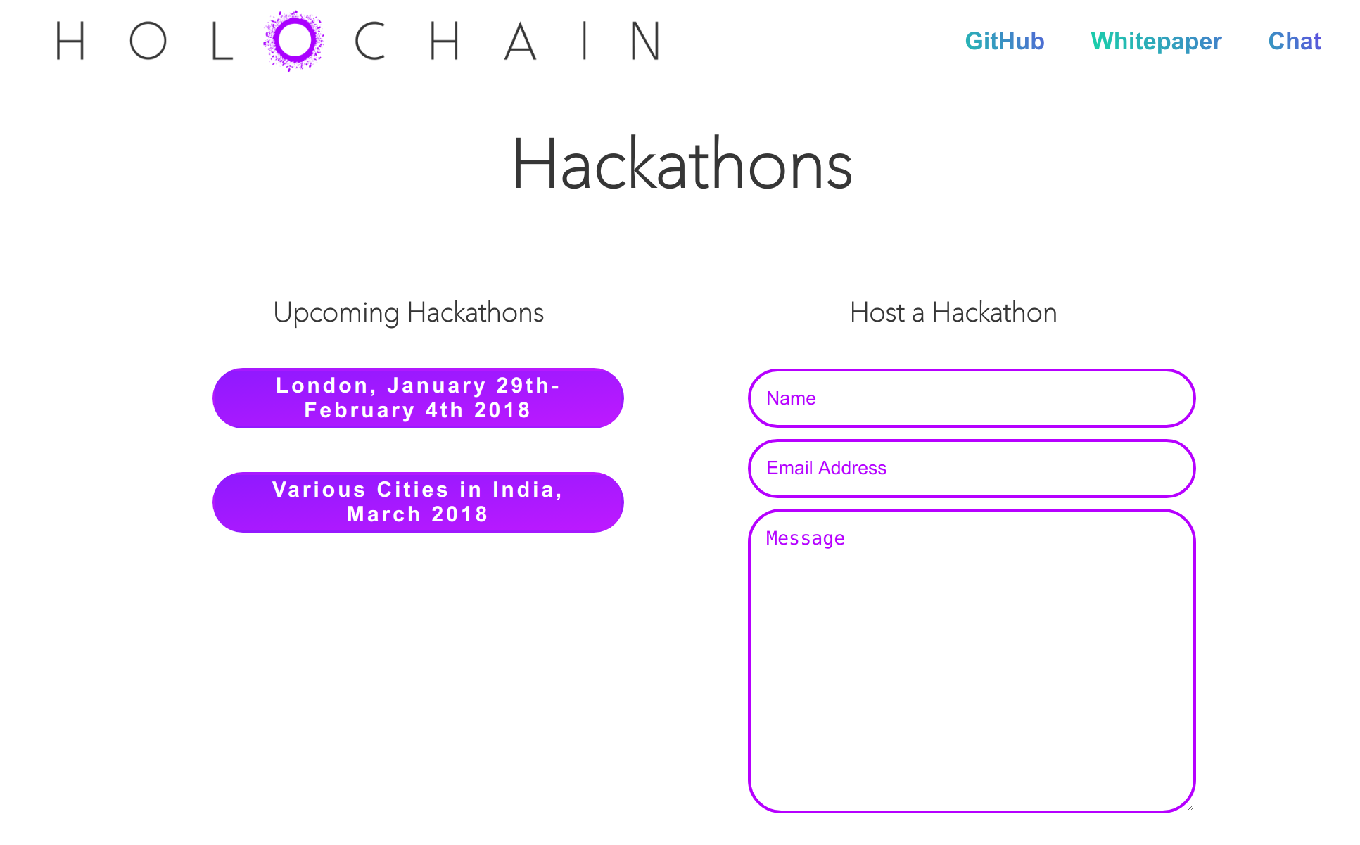 screenshot of hackathon schedule