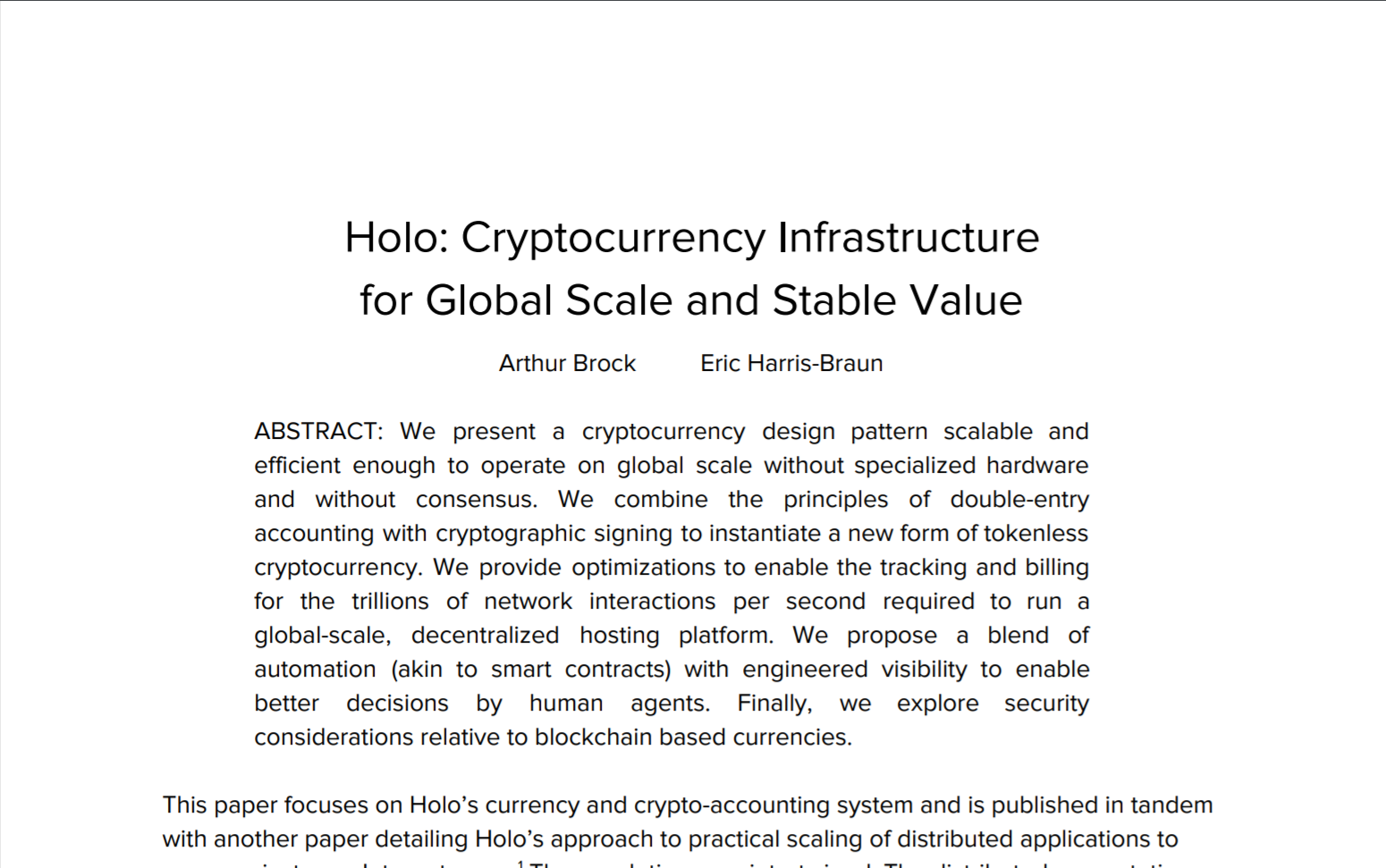 screenshot of Holo currency paper