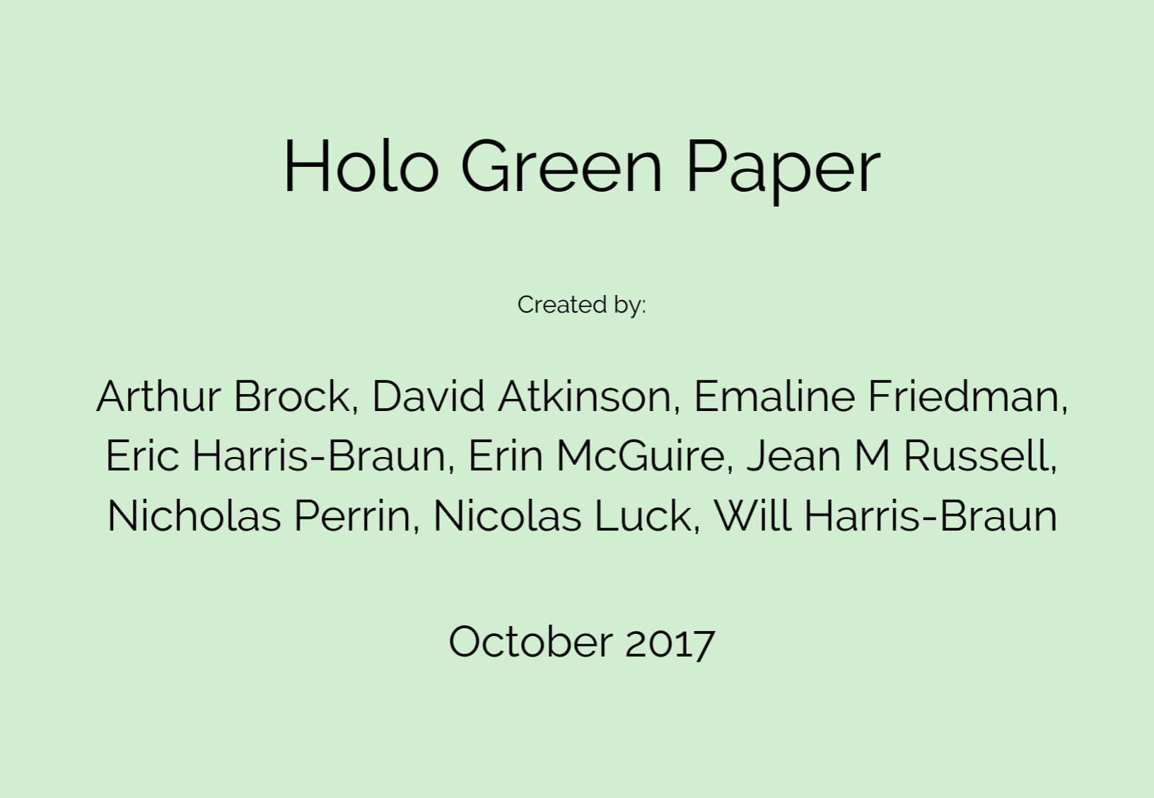 screenshot of Holo greenpaper